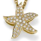 """תליון יהלומים """"כוכב הים"""" בעל מראה עשיר ,התליון משובץ ב 39 יהלומים במשקל כולל של כ- 0.26 קרט בצבע F וניקיון SI1"""
