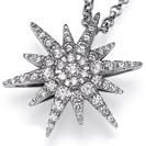 """תליון יהלום """"הכוכב"""" בגרסא היוקרתית ביותר משובץ ב 61 יהלומים במשקל כולל של כ 4 קרט בצבע F וניקיון VS2."""