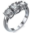 טבעת אירוסין 3 יהלומים עגולים.