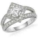 טבעת אירוסין המשובצת ביהלום מרכזי בצורת פרינסס וב 82 יהלומים קטנים במשקל כולל של כ 0.67 קרט בצבע H וניקיון VS2.