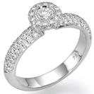 טבעת אירוסין משובצת מראש עם 91 יהלומים עגולים במשקל כולל של כ 0.5 קרט בצבע F וניקיון VS1.