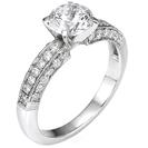 """טבעת אירוסין """"שלושה צדדים"""" משובצת ב 36 יהלומים עגולים במשקלל כולל של כ- 0.35 קרט בצבע F וניקיון SI1."""