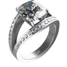 טבעת אירוסין יוקרתית המשובצת בכ- 0.35 קרט יהלומים צדדיים בצבע F בניקיון SI1.