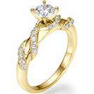 טבעת אירוסין מיוחדת המשובצת ב 26 יהלומים מסביב לטבעת במשקל של כ- 0.3 קרט בצבע G וניקיון SI1.