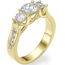 טבעת אירוסין 3 יהלומים המשובצת ב 3 יהלומים עגולים וב 10 יהלומים קטנים במשקל של כ- 0.15 קרט בצבע G וניקיון SI1.