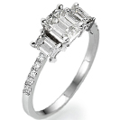 """טבעת אירוסין 3 יהלומים """"הגברת העדינה"""" משובצת על גוף מאוד צר ועדין המשובץ ב 12 יהלומים במשקל כולל של כ- 0.25 קרט בצבע F וניקיון SI1."""