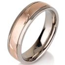 """טבעת לגבר מטיטניום ברוחב 6 מ""""מ עם אמצע מוברש מט וחריטה בעבודת יד של עלים, הטבעת מצופה בזהב אדום 14 קראט."""