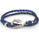 """צמיד לגבר """"סוס ים"""" העשוי כסף 925 וכן צמיד מעור שחור כחול."""