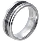 Tungsten wedding bands - polished tungsten ring with black carbon fibers inlay - 8mm