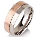 Titanium wedding bands - Brushed 14k rose gold plating titanium ring with polished side - 7mm