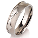 Titanium wedding bands - Brushed titanium ring with polished engraved triangles - 6mm