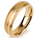 Titanium wedding bands - 14k Gold Plate Brushed rounded titanium ring with polished trim - 5mm