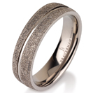 Titanium wedding bands - Sandblast titanium ring with polished engraved center - 6mm