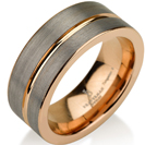 Black Gunmetal Tungsten Ring Rose Gold Wedding Band Ring Tungsten 9mm Tungsten Ring Man Wedding Band Male Women Stripe