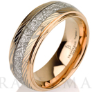 Mokume Meteorite Wedding Band Tungsten, Meteorite Ring,14k Rose Gold,Mens Meteorite Ring,Meteor Ring,Damascus,Mokume Gane, Mokume Band