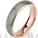 Rose Gold Mens Tungsten Carbide Wedding Band Ring 5mm 14k Rose Gold Plated Domed High Polished 5-15 Half Sizes Traditional Comfort Fit