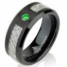Green Emerald Black Satin Mens Meteorite Wedding Band, Meteorite Ring, Mens Meteorite Ring, Meteor Ring, Tungsten Wedding Band