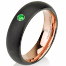 Green Emerald Band Black Tungsten Ring Rose Gold Wedding Band Ring Tungsten Carbide 6mm 14K Tungsten Ring Man Wedding Band Emerald Ring