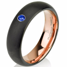 Blue Sapphire Band Black Tungsten Ring Rose Gold Wedding Band Ring Tungsten Carbide 6mm 14K Tungsten Ring Man Wedding Band Sapphire Ring