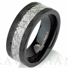 Black Satin Hammered Mens Meteorite Wedding Band, Meteorite Ring, Mens Meteorite Ring, Meteor Ring, Tungsten Wedding Band