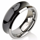 Black Tungsten Wedding Band,Tungsten Wedding Ring,Anniversary Ring,Concave,Shiny Polish,His,Hers,Engagement Band,Comfort Fit,8mm