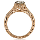 14K Rose Gold Art Deco Antique Engagement Vintage Petite Hand Engraved Filigree Engagement Ring
