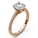 14k Rose Gold Classic Diamond Engagement Ring, Cathedral Archways with Shared Prongs Pavé Diamond Accents.