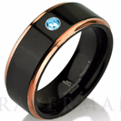 Aquamarine Band, Black Tungsten Ring, Rose Gold Wedding Band, Mens Wedding Bands, Rose Gold Band, Black Band, Tungsten Wedding Band, 8mm