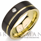 Black Tungsten Wedding Band,14k Yellow Gold, White Diamond Mens Wedding Band, Yellow Gold Stripe, Comfort Fit, 9mm, Black Wedding Bands