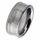 Rare Mens Hammered Tungsten Carbide Mens Wedding Band Ring Curved 8mm 6-12 Half Sizes Custom Engraved Comfort Fit