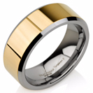Yellow Gold Band, Mens Wedding Bands, Gold Wedding Ring, Gold Tungsten Ring, Two Tone Ring FREE Laser Engraving