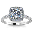 14K White Gold Cushion Diamond Engagement Ring - Halo Pave Side Diamonds