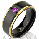 Tungsten Wedding Band, Purple CZ Stone, Mens Ring, Black, 14k Yellow Gold, Mens Wedding Bands, Custom Made, Shiny