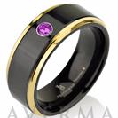 Tungsten Wedding Band, Purple CZ Stone, Mens Ring, Black, 14k Yellow Gold, Mens Wedding Bands, Custom Made, Shiny