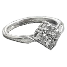 14k White Gold Rhombus Engagement Ring - Vintage Engagement Ring - 0.4ct round diamonds