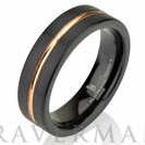 Black Tungsten Ring Rose Gold Wedding Band Ring Tungsten 6mm 14K Tungsten Ring Man Band Male Women Rose Gold Ring