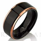 Black Tungsten Ring Rose Gold Wedding Band Ring Tungsten Carbide 8mm 14K Tungsten Ring Man Wedding Band Male Women Comfort Fit