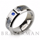Custom Birthstone Blue Sapphire Tungsten Carbide Ring,Celtic Dragon Inlay,Band,Blue Dragon Inlay,8mm,Tungsten Band, Tungsten Carbide Band