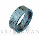 Blue Mokume Gane Tungsten - Forged Ring - Mokume Band - Damascus Ring - Three Color Mokume - Mokume Wedding Bands - Mokumegane