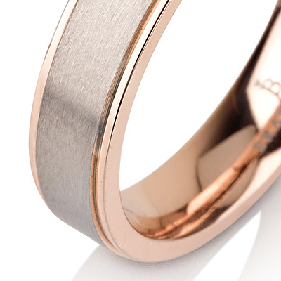 Titanium wedding bands - 14k Rose gold plated titanium ring, brushed center and polished sides - 5mm