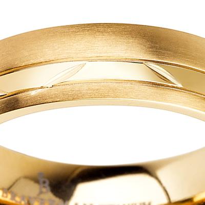Titanium wedding bands - 14k Gold Plate Brushed rounded titanium ring with polished trim - 5mm