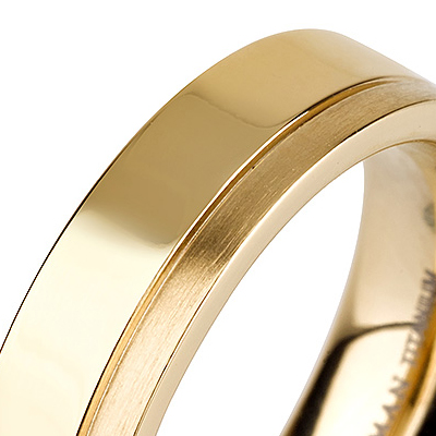 Titanium wedding bands - 14k gold plated delicate titanium ring with brushed and polished finishing combination - 5mm