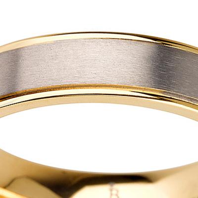 Titanium wedding bands - Brushed center titanium ring with polished sides 14k gold plating - 5mm