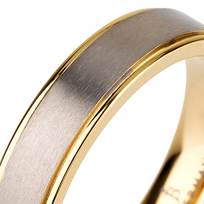 Titanium wedding bands - Brushed center titanium ring with polished sides 14k gold plating - 5mm
