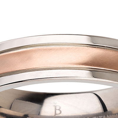 Titanium wedding bands - Brushed 14k rose gold plating rounded titanium ring - 6mm