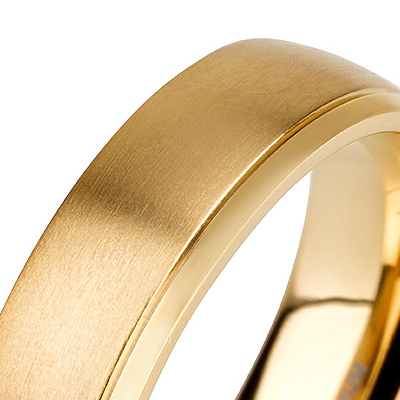 Titanium wedding bands - 14k gold plated delicate titanium ring with brushed and polished finishing combination, round edged - 6mm