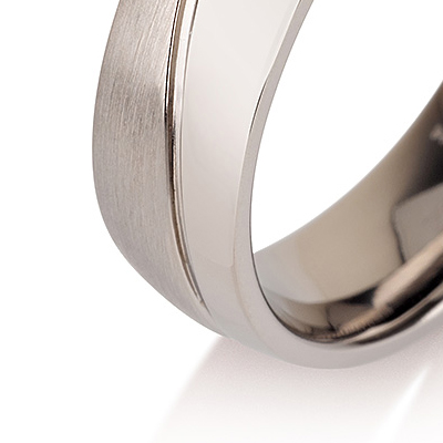 Titanium wedding bands - Half Brushed Half Polished titanium ring - 6mm