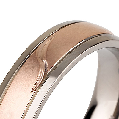Titanium wedding bands - 14k Rose Gold Plate brushed titanium ring with leaf engraving - 6mm