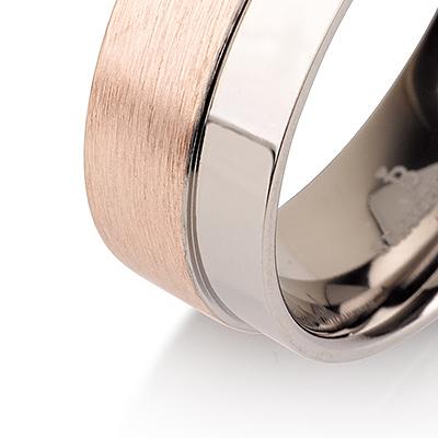 Titanium wedding bands - Brushed 14k rose gold plating titanium ring with polished side - 7mm