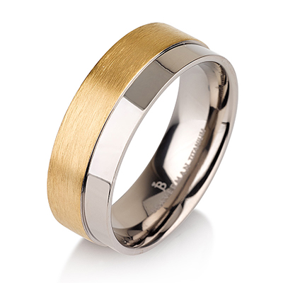 Titanium wedding bands - 14k Gold Plate brushed half titanium ring with half polished design - 7mm